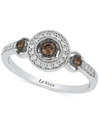 Le Vian - Brown Chocolatier® Chocolate Deco Estate™ Diamond ( 1/8 Ct. T.w.) Ring In 14k White Gold - Lyst