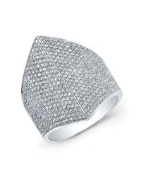 Anne Sisteron - Metallic 14kt White Gold Diamond Helmet Ring - Lyst