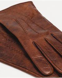Zara | Brown Gloves With Wavy Seam for Men | Lyst