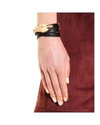 Valentino - Metallic Gryphon Leather Wrap Bracelet - Lyst