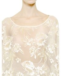 Rochas - White Floral Embroidered Organza Nigel Top - Lyst