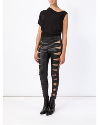 Saint Laurent - Black Cut-Out Lambskin Leggings - Lyst
