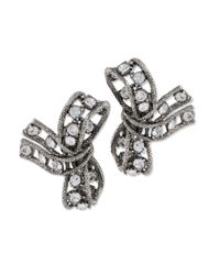 Kenneth Jay Lane | Metallic Light Antique Silver Crystal Bow Clip Earring | Lyst
