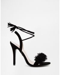 Daisy Street - Black Pom Ghillie Lace Up Heeled Sandals - Lyst