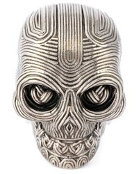 Alexander McQueen - Metallic Skull Ring for Men - Lyst