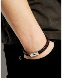 Seven London | Brown Woven Leather Bracelet for Men | Lyst