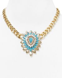 Lydell NYC | Blue Flower Pendant Necklace, 16"