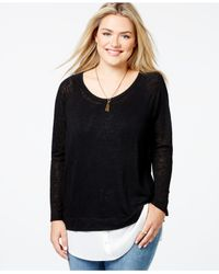 Soprano | Green Plus Size Layered-look Sweater | Lyst
