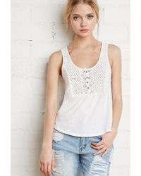 Forever 21 | White Crocheted Slub Knit Top | Lyst