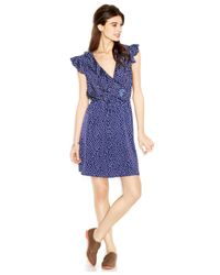 Maison Jules - Blue Cap-Sleeve Surplice-Neck Printed Dress - Lyst