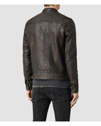 AllSaints - Brown Howard Leather Biker Jacket for Men - Lyst