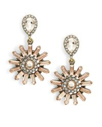 Cara | Metallic Floral Drop Earrings | Lyst