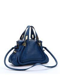Chloé - Factory Blue Leather Medium 'Paraty' Convertible Satchel - Lyst