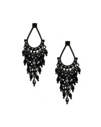 Oasis - Black Teardrop Faceted Cascade Earrings - Lyst