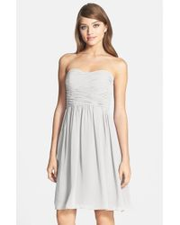 Donna Morgan | Gray 'sarah' Strapless Ruched Chiffon Dress | Lyst