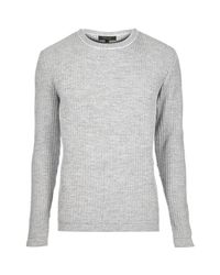 River Island - Gray Grey Ribbed Crew Neck Jumper for Men - Lyst
