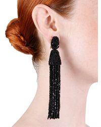 Oscar de la Renta - Black Classic Long Tassel Earrings - Lyst