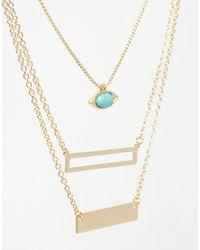 ASOS | Blue Multi Row Eye & Bar Choker Necklace | Lyst