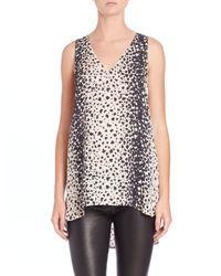Vince - Multicolor Leopard-Print V-Neck Top - Lyst
