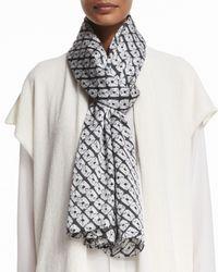 Eskandar - Gray Diamond Shibori Silk Scarf - Lyst