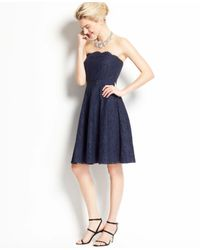 Ann Taylor | Blue Scalloped Strapless Lace Dress | Lyst