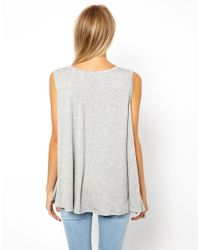 ASOS - White Trapeze Top in Woven Mix with Laser Cut - Lyst