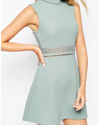 ASOS - Blue A Line Dress In Texture With High Neck And Lace Inserts - Lyst