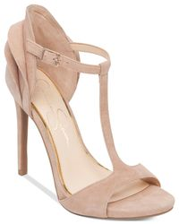 Jessica Simpson | Pink Rayanna T-strap Petal Dress Sandals | Lyst
