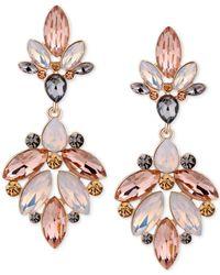 Guess - Metallic Gold-tone Multi-stone Chandelier Earrings - Lyst
