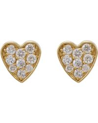 Jennifer Meyer | Metallic Heart Studs | Lyst