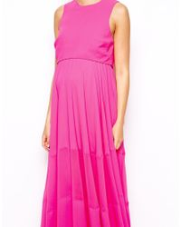 ASOS - Pink Double Layer Maxi Dress With Sheer Inserts - Lyst