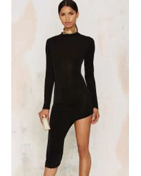 Glamorous | Black Great Length Asymmetric Bodycon Dress | Lyst