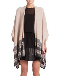 Vince | Brown Wool & Cashmere Striped Poncho | Lyst