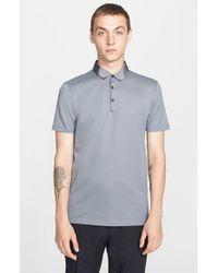 Lanvin - Gray Grosgrain Collar Polo for Men - Lyst
