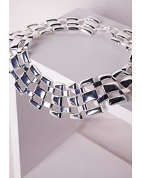 Missguided | Metallic Linked Statement Collar Silver | Lyst