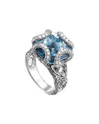 John Hardy - Batu Classic Chain Silver Medium Braided Ring With London Blue Topaz - Lyst