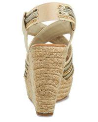 Carlos By Carlos Santana - Natural Corelle Sequin Espadrille Platform Wedge Sandals - Lyst