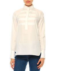 Valentino - White Long-sleeve Cotton Military Blouse - Lyst