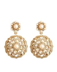 Brooks Brothers | Metallic Flower Drop Earrings | Lyst