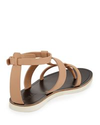 Vince - Natural Crete Flat Strappy Leather Sandal - Lyst