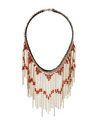 TOPSHOP | Orange Bead Fringe Collar | Lyst