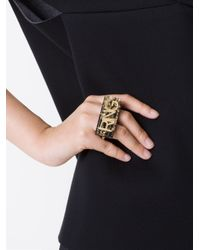 MM6 by Maison Martin Margiela - Metallic Letter Appliqué Double Ring - Lyst