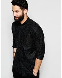 ASOS | Black Oxford Shirt With Neps In Regular Fit for Men | Lyst