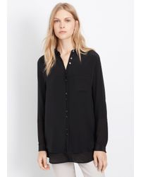 VINCE | Black Silk Double Placket Long Sleeve Blouse | Lyst
