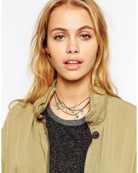 ASOS | Metallic Multi Row Leaf Cord Choker Necklace | Lyst