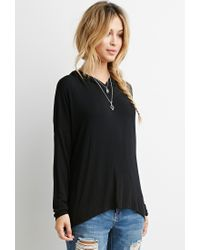 Forever 21 | Black Dropped-sleeve Drapey Hoodie You've Been Added To The Waitlist | Lyst