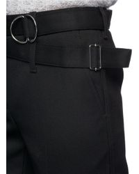 3.1 Phillip Lim - Black Utility Strap Cropped Wool Pants - Lyst