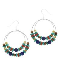 Lord & Taylor | Blue Sterling Silver Hoop Earrings With Multi-Color Gemstones | Lyst