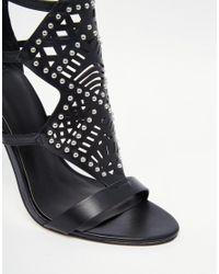 ASOS - Black Hovercraft Caged Heeled Sandals - Lyst