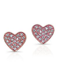 Anne Sisteron | Pink 14kt Rose Gold Diamond Heart Stud Earrings | Lyst